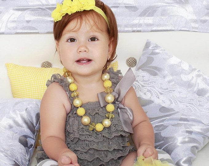 SALE! Baby Girls gray petti romper, gray lace romper, photo prop, gray, cake smash, gray baby dress, silver, lace baby top, gray baby top