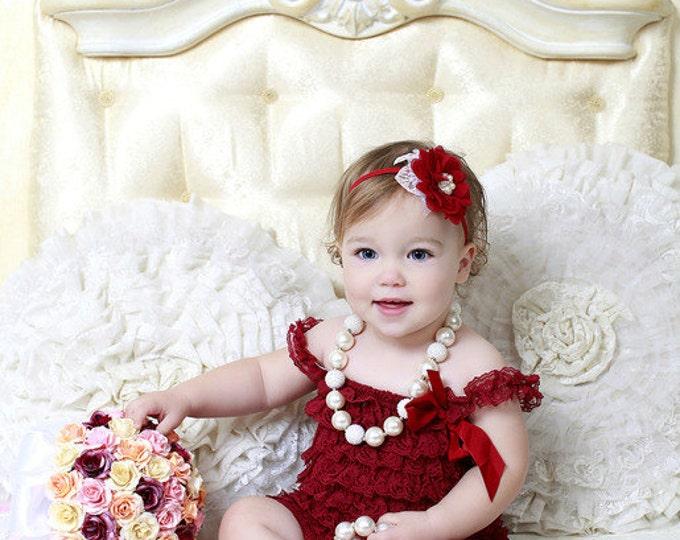 SALE! Baby Girls burgundy headband, skinny headband, photo prop, cake smash, baby dress, red, wine, flower headband, burgundy baby headband