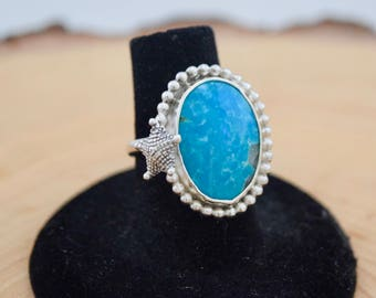 Compass Mine Turquoise Sterling Starfish Ring