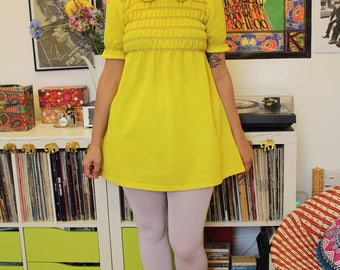 Vintage 60s canary yellow crimplene mini dress S