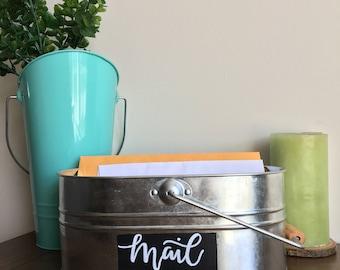 """Handpainted Mail Tin, Galvinized metal mail bin, Rustic Mail bin, Mail organizer 10.5""""x6.5""""x4.5"""""""