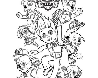 Paw Patrol Coloring Pages Whole Group With Color