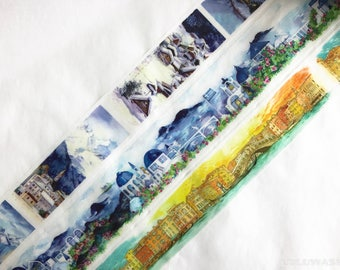 Samples - washi tape samples special ink limited edition painting Shirakawa seasons / Santorini island / Venice 60cm <SI211>