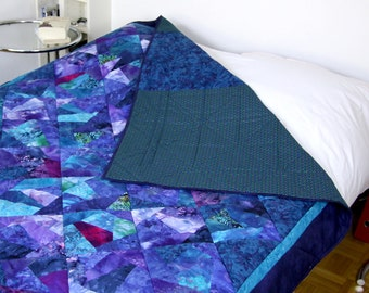 Blue Queen Size Quilts, Queen Size Bed Quilt Top, Bed Topper Quilt, Queen Size Bedspread, Blue Quilt Top, Blue Bed Sheets, Queen Bedding