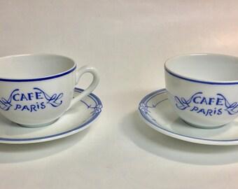 Bernardaud Limoges France Tea Cups | Café Paris Blue Pattern | Vintage Teacup | Teacup and Saucer | Tea Party | Tea for Two | Garden Party