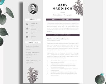 Resume Template | Two Page Resume + Cover Letter + Advice | Printable For  Word |