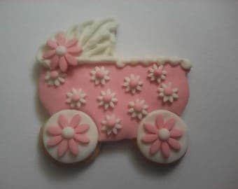 12 Pink Carriage Newborn Cookies Party Favors Baby Shower Favors Decorated Cookies Baked Goods Baby Gifts Sugar Cookies Stroller Cookies