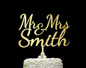 Mr and Mrs Cake Topper with Surname, Mr and Mrs Cake Toppers, Personalized Gold Cake Topper,  Cake Topper Oro Iniziali, Gold Topper, CT#011