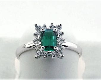 14k white gold emerald and diamond ring / emerald engagement ring / ladies emerald ring