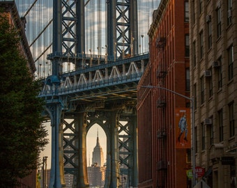 Manhattan Bridge,  NYC Skyline, NYC Photography, Empire State Building, Brooklyn, Dumbo, executive print