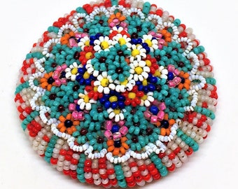 Vintage Seed Beaded Brooch Large Hand-Made Glass Colorful Millefiori Daisy Celluloid Back Clasp Marked DEPCS Domed Exquisite 2 1/4 inch