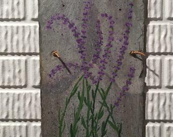 Genuine Slate Painted Lavender Flowers