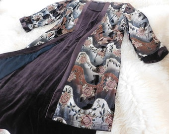 Women's Lovely Velvet Dress and Jacket Brocaded in a Beautiful Floral Shimmering Pattern Size Medium