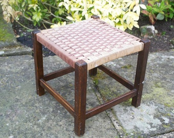 Small Antique String top Stool Arts and Crafts Children's seat