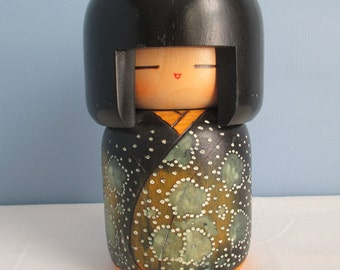 Large Vintage Japanese Wooden Kokeshi Doll with Green Kimono ~ FREE SHIPPING!
