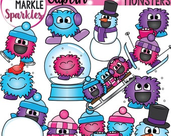 Winter Happy Monsters With Hats Scarves Skis Sleds Snowglobes and Snowman Clipart