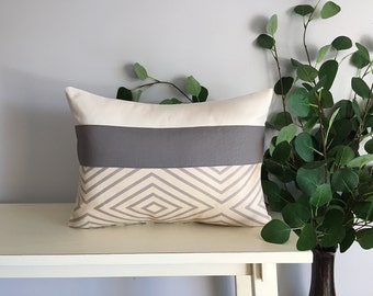 Decorative Pillow Cover, Color Block Pillow, Pillow with Gray Stripe
