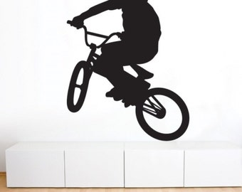 BMX Wall Decal • BMXER • Ride • Rider • Sport • Wall Art • Vinyl • Mural • Bedroom • Boys Room • Garage • Office • Den • Man Cave • Decor