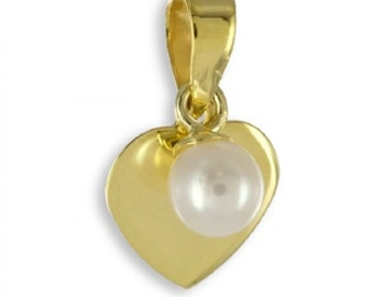 Heart Pendant with Pearl (8ct yellow gold/0.45grams)