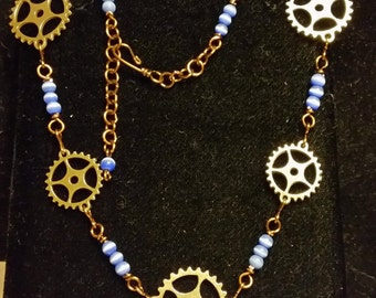 Blue Cat's Eye and Steampunk necklace