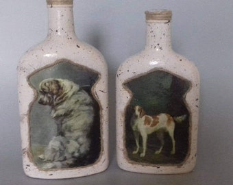 Two Vintage Effect Dog Candle Holders/Ornaments