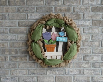 Welcome Burlap Wreath, Wreath with Sign, Spring Wreath, Summer Wreath, Year Round Wreath, Front Door Wreath, Home Decor Wreath