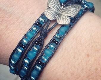 Teal Butterfly Wrap Bracelet