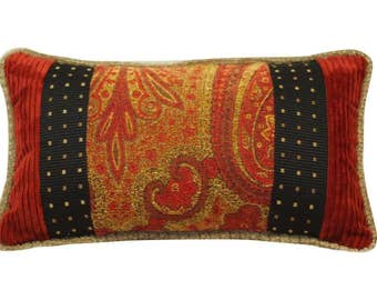 Red Paisley Lumbar Pillow, Red Black Oblong Pillow, Patterned Small Pillow, Black and Red Decorative Pillow, Red Patterned Patchwork Pillow