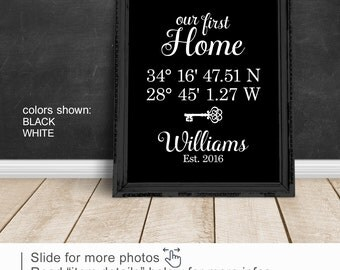 Our First Home, New Home House Warming Gift, Latitude Longitude Sign, Housewarming Gift, home established, black and white New Homeowners