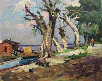 """MID CENTURY ART Vintage original oil genre painting """"Near the boat station"""" by a Soviet artist M.Borymchuk 1950s Landscape, Countryside view"""