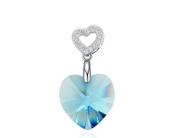sterling silver Drop crystal heart pendant charm for necklace