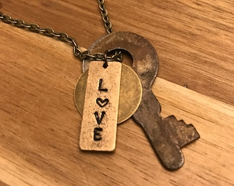 Charm Necklace, Love, Key