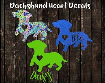 Dachshund Heart Decal, Personalized Dachshund Decal, Dachshund Car Decal, Dachshund Tumbler Decal, Dog Heart Decal