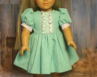 Teal and white dress. Fits American Girl doll and other 18 inch dolls