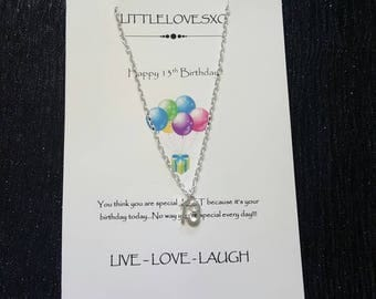 13th birthday necklace, 13th birthday gift, gifts for teens, birthday gifts, silver plated necklace, 13th necklace, silver plated 13th gifts