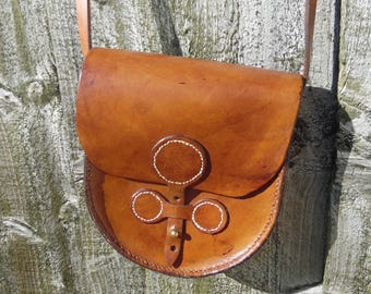 Handmade small leather shoulder bag