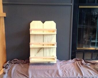 Rustic wood 3 shelf unit