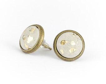 Concrete earrings gold