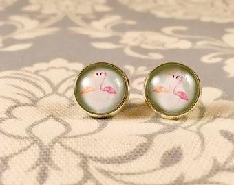 Flamingo Silver Stud Earrings