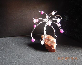 Wire wrapped tree with pink,sparkle rondelle beads