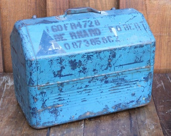 Vintage Metal Tool Box with Stencil / Large Blue Metal Box