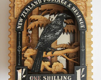 New Zealand Wall Art - Vintage Postage Stamp, Tui, 3D Laser Cut