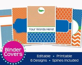 Florida Gator Inspired Orange and Blue Binder Covers