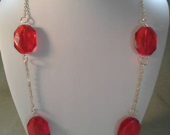 red glass beads long gold chain