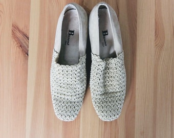 vintage nubuck and crochet heels | made in italy | size 9
