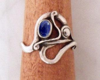 "Silver ring with lapis lazuli ""Air Dragon 3"""