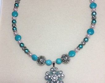 Silver with teal accent pendant