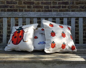 Ladybird Cushion in Natural Linen with Cream Cotton Backing
