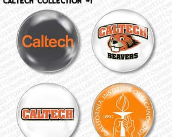Set of 4 Mini Pins / Buttons - CALTECH california institute of technology beavers college university
