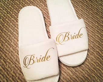 Personalised Open Toed Slippers, Luxury Velour Slippers, weddings,Hen party, bridal Party, Mother of the bride, Bridesmaid